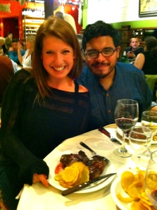 me with Diego: enjoying our ojo de bife, patatas, lomo asado, and vino tinto!
