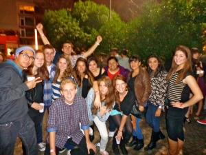the whole group at the beginning of the night in Plaza Armenia