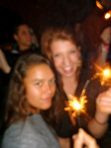 lighting sparklers in the plaza