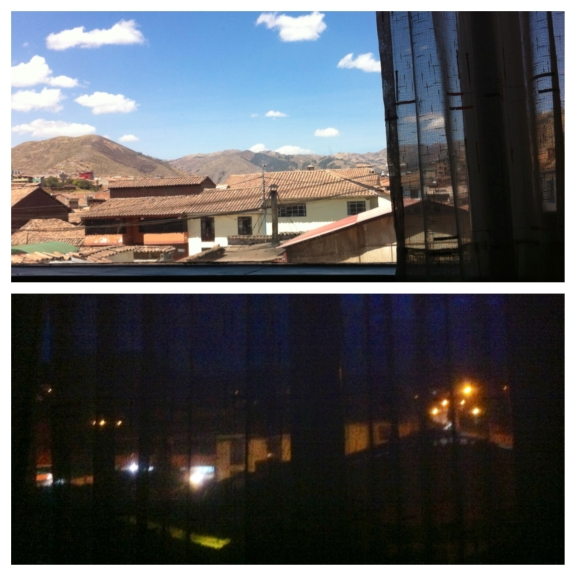 View from my hospital room of both afternoon & night {...lucky me}