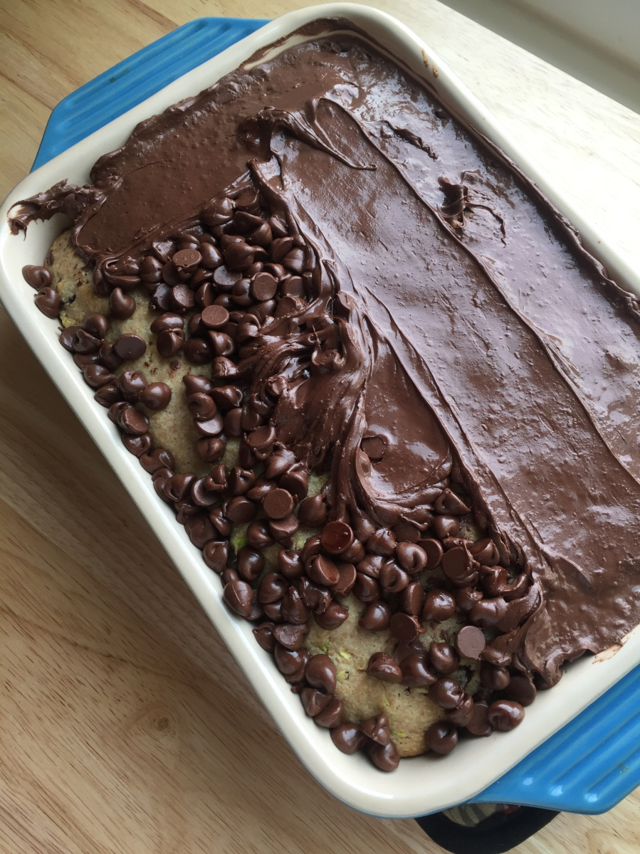chocolate icing on dairy-free chocolate zucchini bread loaf